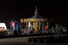Lonely amusement park. At night Stock Photos