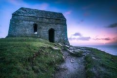Lonely ancient chapel on Cornish coast,UK Royalty Free Stock Photos