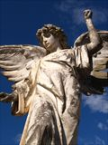 Lonely Angel. This Historic image of a lonely Angel statue from Williston Cemetery is classic and iconic with a low angle capture Royalty Free Stock Images