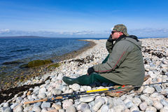Lonely angler Stock Photo