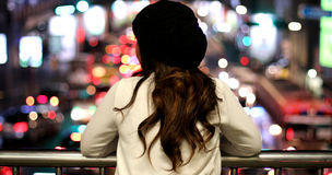 Lonely asian woman, outdoor in night. Portrait of lonely asian woman, outdoor in night royalty free stock images