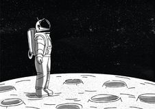 Lonely astronaut in spacesuit standing on surface of Moon and looking at space full of stars. Cosmonaut exploring planet stock illustration