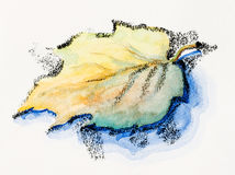 Lonely autumn leaf. Watercolor with slate-pencil painting Stock Photos