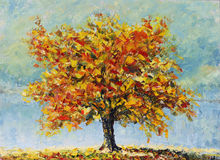 Lonely autumn tree, fallen leaves, clouds, painting Stock Images