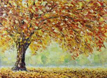 Lonely autumn tree, fallen leaves, clouds, painting Royalty Free Stock Photography