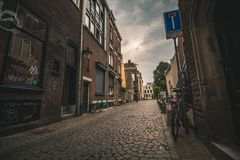 Lonely back street in Rotterdam, Netherlands stock photos