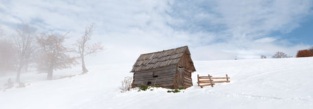 Lonely barn at winter Stock Photo
