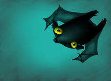 Lonely bat flying in night. Digitally generated image of lonely bat flying in halloween night Royalty Free Stock Photos