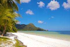Lonely beach 2. Amazing white sands beach and turquoise waters of Praslin island, Seychelles, with palm trees and a wooden bench to relax Stock Images