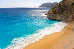 Lonely beach. Mediterranean coast,Turkey stock photo