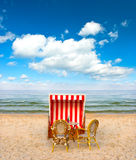 Lonely beach chair in cafe on the Baltic Sea Royalty Free Stock Images