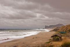 Lonely Beach. A fisherman's beach in Manabi Ecuador Royalty Free Stock Photography