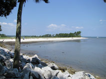 Lonely Beach of Hilton Head Island. With Rocks stock photography