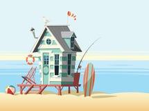 Lonely beach hut illustration Royalty Free Stock Photos