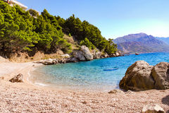 Lonely beach on the Makarska Riviera. Near Pisak Royalty Free Stock Photography