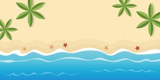 Lonely beach with palm trees and starfish summer holiday background with copy space vector illustration