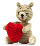 Lonely bear doll with heart Royalty Free Stock Photography