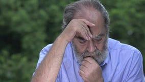 Lonely Bearded Hispanic Senior Old Man In Rain stock video footage