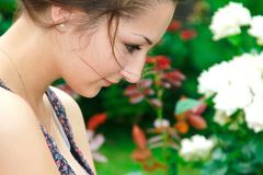 Lonely beautiful girl looking Royalty Free Stock Image