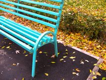 Lonely bench 2. Empty bench in autumn park Royalty Free Stock Image