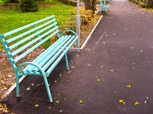 Lonely bench 3. Empty bench in autumn park Royalty Free Stock Photos