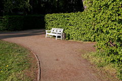 Lonely bench in garden . Royalty Free Stock Photography