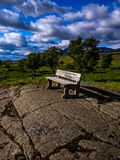 Lonely bench in Iceland park Royalty Free Stock Photography