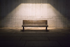 Lonely Bench In Spotlight Royalty Free Stock Images