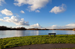 Lonely bench by lake Royalty Free Stock Image