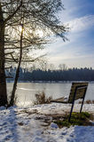 Bench at frozen lake Royalty Free Stock Photo