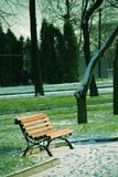Lonely bench in the park early winter. Green grass covered with snow. Lonely bench in the park early winter Royalty Free Stock Photo