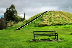 A lonely bench. In a park in Scotland Stock Photo