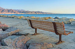 The lonely bench on pier Royalty Free Stock Photo