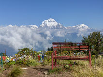 Lonely bench on Poon Hill Royalty Free Stock Images