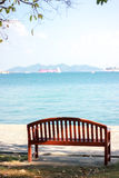 Lonely bench. Sea view at Si Chang island, Lonely bench Stock Photography