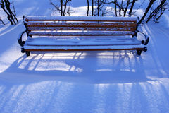 Lonely bench in snow Royalty Free Stock Images