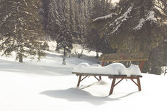 Lonely bench during winter Royalty Free Stock Photography