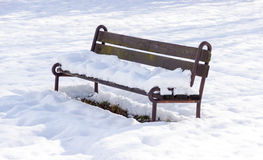 Lonely Bench in Winter Stock Photos