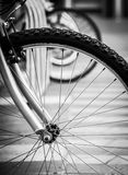 Lonely bicycle. A black-and-white closeup photo of a bicycle parked in central London Royalty Free Stock Image