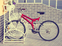 Lonely bicycle on a parking Royalty Free Stock Photos