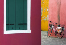 Lonely bicycle in Venice Stock Photo