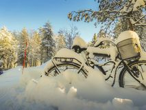 Lonely bike filled with snow in a sunny day royalty free stock photos