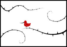 Lonely bird on the branch. Vector Stock Photo