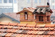 Lonely bird on chimneys. Colorful tile or slate roof with two different decorative chimneys and a bird. Many buildings in the background. Bergamo, Lombardy Stock Images