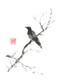 Lonely bird Japanese style original sumi-e ink painting. Royalty Free Stock Photo