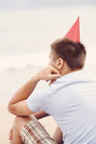 Lonely birthday beach party Stock Photo