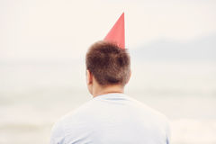 Lonely birthday beach party Royalty Free Stock Photos