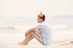 Lonely birthday beach party Royalty Free Stock Photography