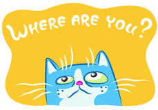 Lonely blue cat. Vector illustration. Royalty Free Stock Image