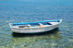 Lonely boat. On Mediterranean Sea royalty free stock images